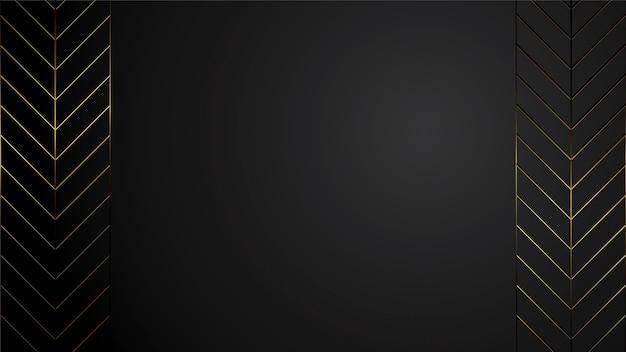 Ilustración de lujo fondo negro banner con espacio en blanco art deco tira de oro