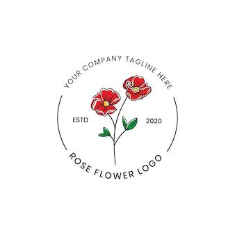 Ilustración de lujo de logotipo de símbolo de amor hermoso rosa