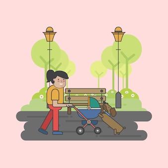 Ilustración de una madre y un perro