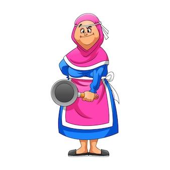 La ilustración de la madre usando el delantal rosa sosteniendo la cara traviesa de la sartén