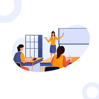 Ilustración de la maestra enseña a los niños en clase.