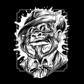 Ilustración mafia remasterizada en blanco y negro