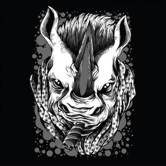 Ilustración mafia rinoceronte blanco y negro