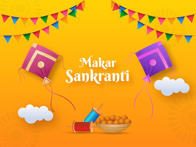 Ilustración de makar sankranti text with kites