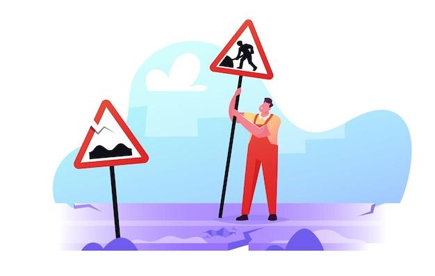 Ilustración de la mala carretera trabajador de carácter masculino use overoles configurar signo para asfalto en mantenimiento o construcción