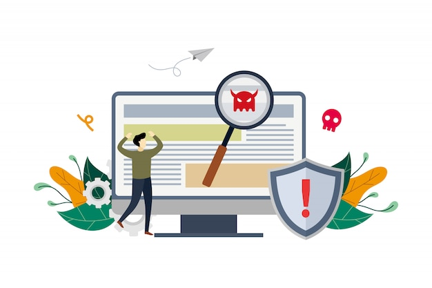 Ilustración de malware detectado por virus
