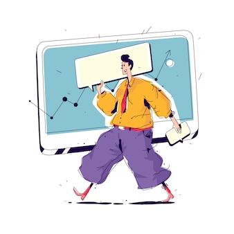 Ilustración de un manager con una gran portada.
