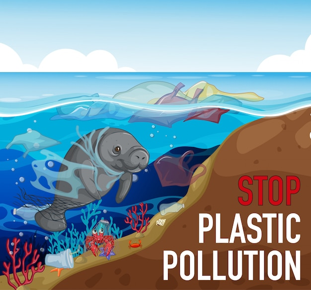 Ilustración con manatí en el océano