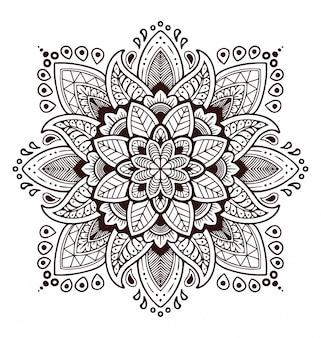 Ilustración de mandala blanco y negro