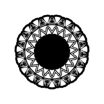Ilustración de mandala boho en blanco y negro, diseño redondo hippie. diseño de vector de mandala geométrico tribal
