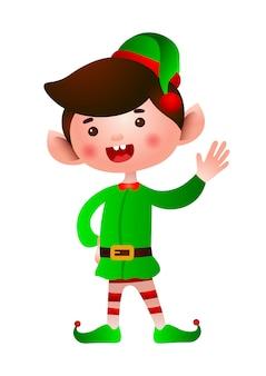 Ilustración de mano agitando elfo de navidad