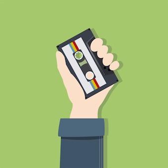 Ilustración de mano y cassette.