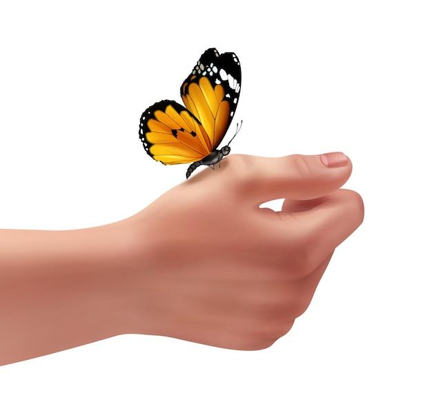 Ilustración de la mano derecha humana con mariposa