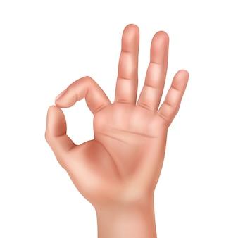 Ilustración de la mano humana que muestra el signo bien