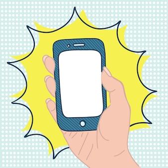 Ilustración de la mano de la mujer sosteniendo un teléfono inteligente en estilo retro pop art