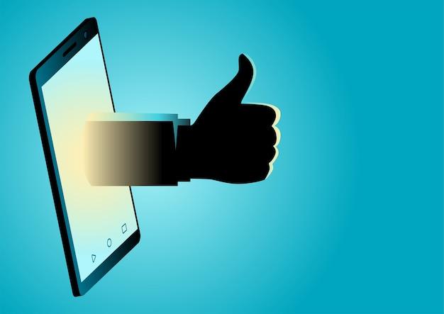 Ilustración de una mano que aparece desde un teléfono inteligente haciendo pulgar hacia arriba