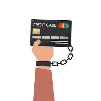 Ilustración de la mano que sostiene la tarjeta de crédito