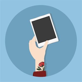Ilustración de la mano que sostiene el teléfono