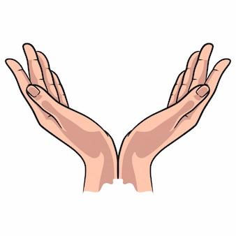 Ilustración de la mano rezando a todo color
