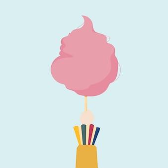 Ilustración de una mano sosteniendo algodón de azúcar