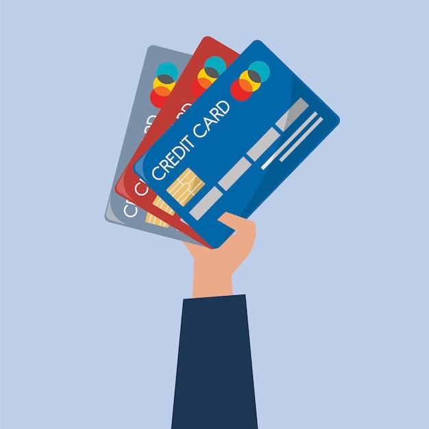 Ilustración de mano sosteniendo tarjetas de crédito
