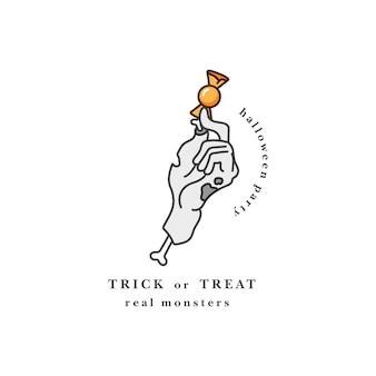 Ilustración de mano zombie cortada sosteniendo el caramelo. feliz tipografía de fiesta de holloween. cita de truco o trato.