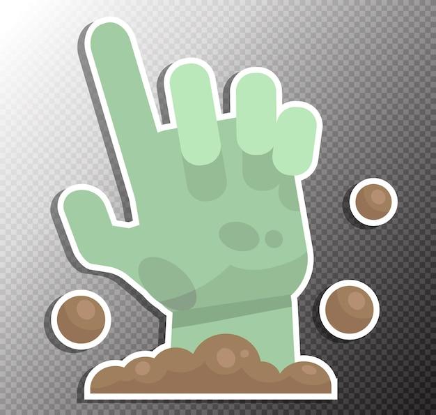 Ilustración de mano zombie en estilo plano