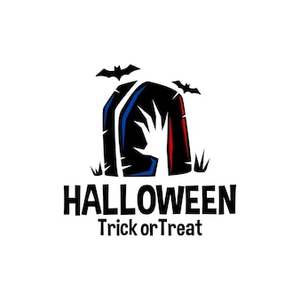 Ilustración de una mano de zombie de lápida y murciélagos halloween vector logo ilustración horror vector