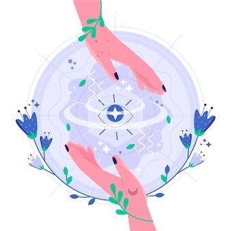 Ilustración de manos curativas de energía con flores