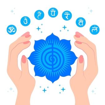 Ilustración de manos curativas de energía con signos