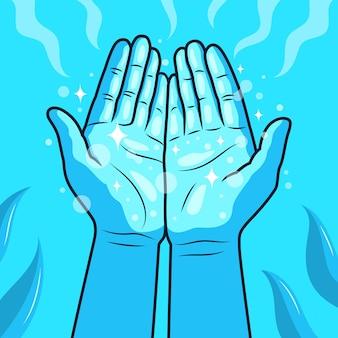 Ilustración de manos curativas de energía