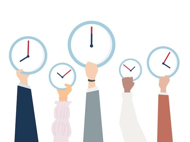 Ilustración de manos con gestión del tiempo
