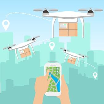Ilustración de manos lanzando algunos drones de entrega con paquetes por teléfono inteligente frente al horizonte de una gran ciudad moderna con rascacielos en estilo de dibujos animados planos.
