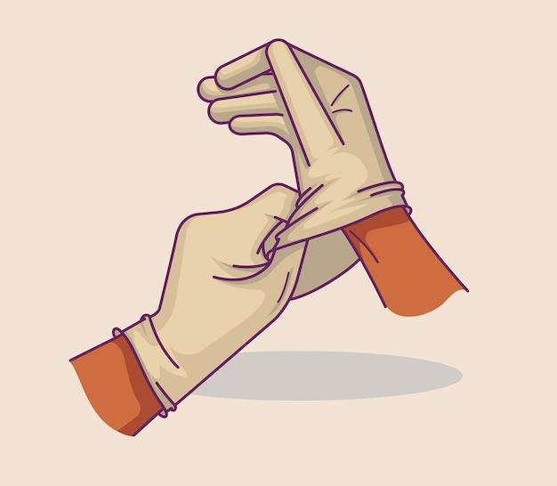 Ilustración de manos poniéndose guantes médicos. prevención de infecciones ideal para web, digital y muchos otros usos