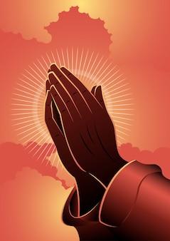 Una ilustración de manos rezando sobre fondo de nubes rojas. serie bíblica