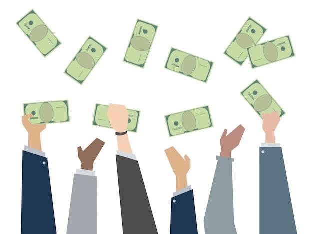 Ilustración de manos sosteniendo papel moneda