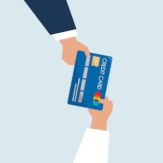 Ilustración de manos sosteniendo la tarjeta de crédito