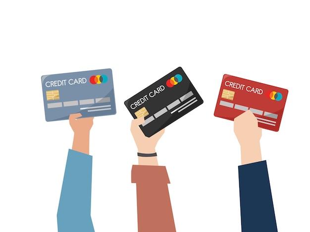 Ilustración de manos sosteniendo tarjetas de crédito