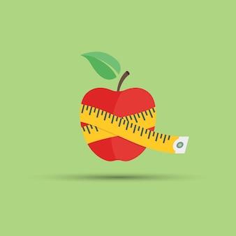 Ilustración de manzana y centímetro sobre fondo verde para temática de fitness y alimentación saludable Vector Premium