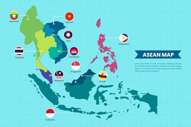 Ilustración del mapa de la asean