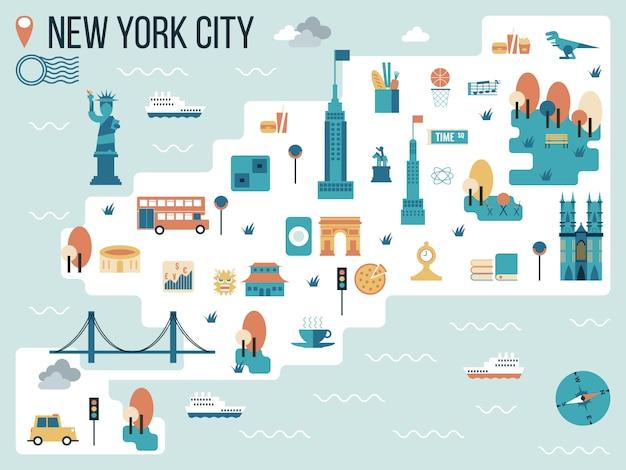 Ilustración del mapa de la ciudad de nueva york