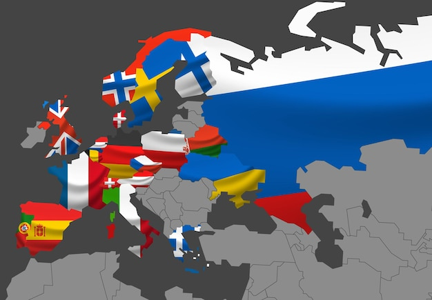 Ilustración de mapa de europa con banderas.