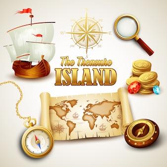 Ilustración del mapa de la isla del tesoro