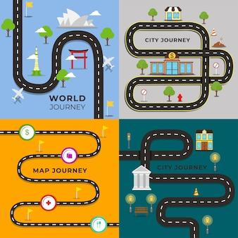 Ilustración de mapa de viaje