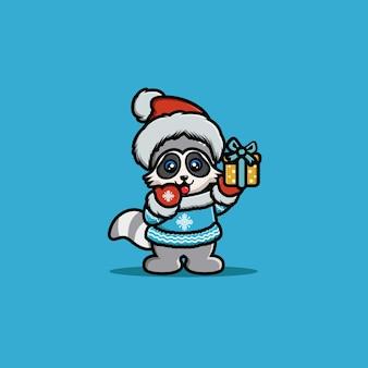 Ilustración de mapache de carácter animal con caja de regalo