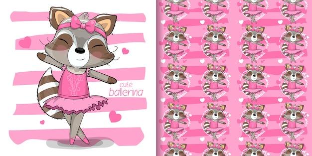 Ilustración de mapache linda bailarina con patrones sin fisuras