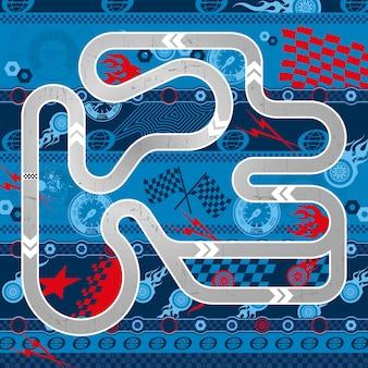 Ilustración de mapas de pista de carretera de coche de carreras con diseño de elementos deportivos