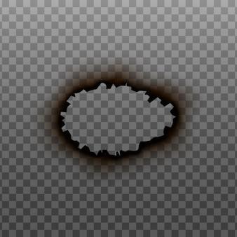 Ilustración de maqueta realista de borde o marco de círculo de agujero quemado aislado