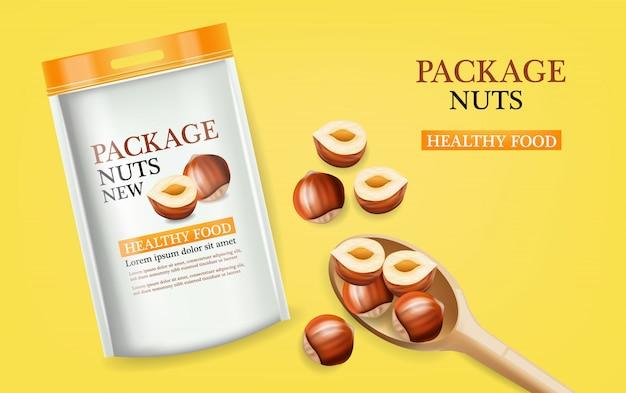 Ilustración de maqueta realista de paquete de nueces