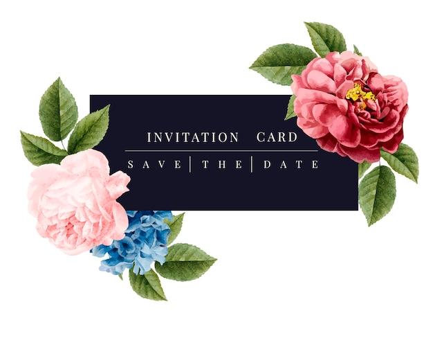 Ilustración de maqueta de tarjeta de invitación floral